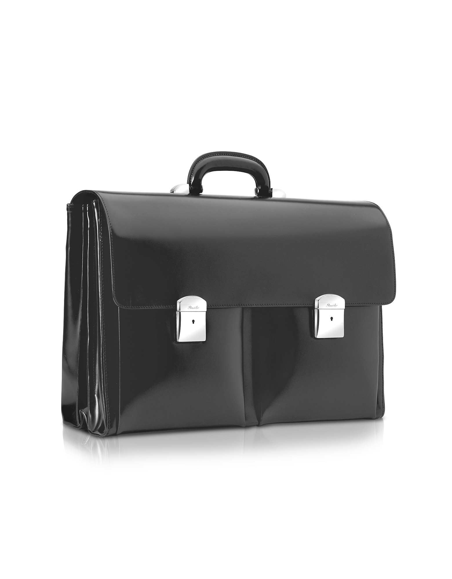 Image of 1949 - Black Calfskin Triple Gusset Briefcase