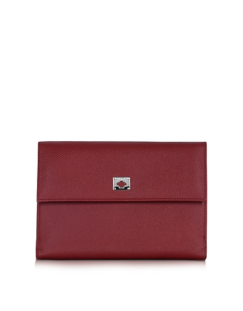 Pineider - City Chic Burgundy Leather French Purse Wallet