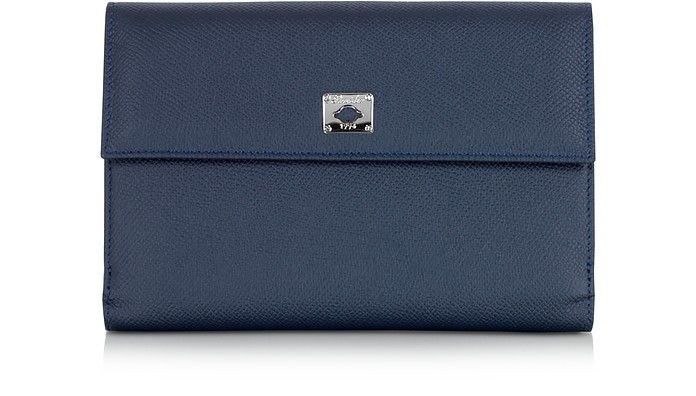 City Chic Blue Leather French Purse Wallet - Pineider