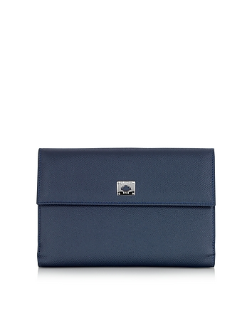 Pineider - City Chic Blue Leather French Purse Wallet