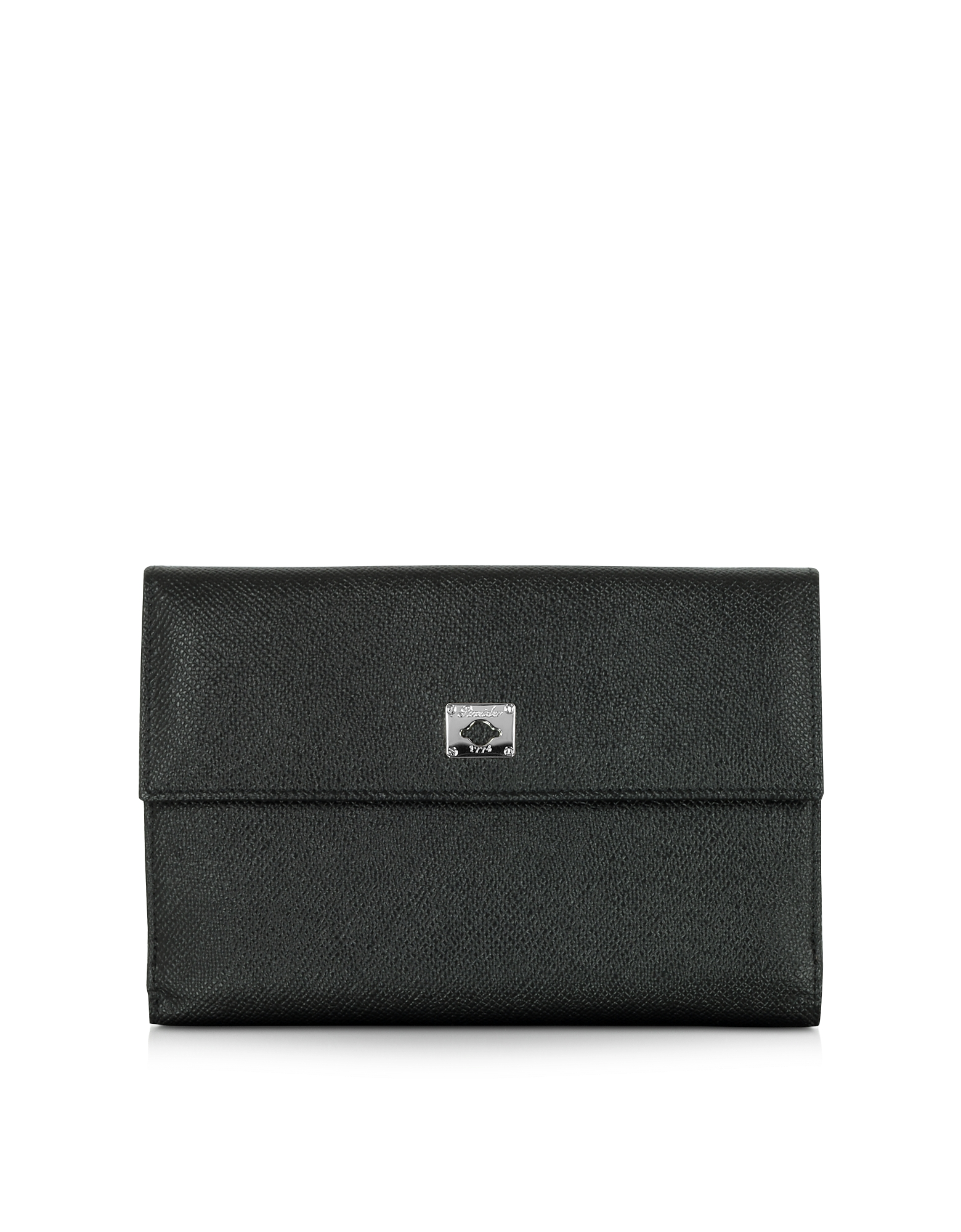 Pineider Handbags, City Chic Black Leather French Purse Wallet