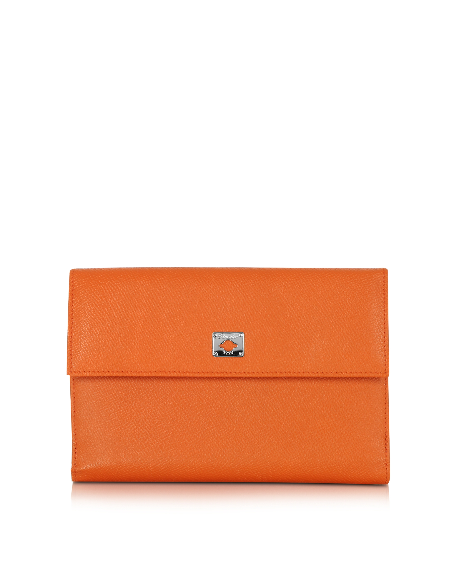 Pineider Handbags, City Chic Orange Leather French Purse Wallet