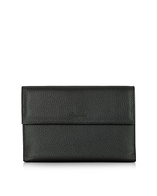 Country Black Leather French Purse Wallet - Pineider