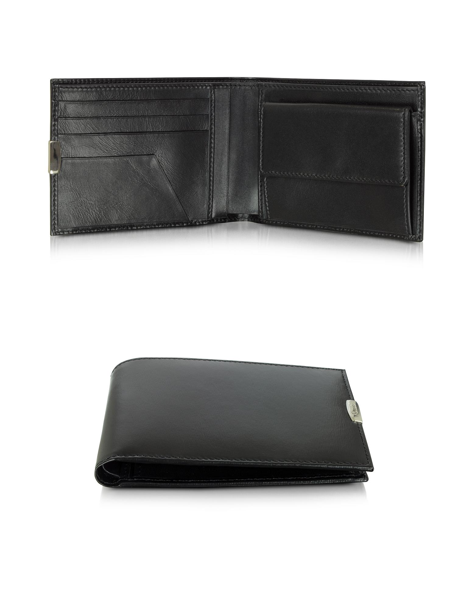 1949 - Черный Кожаный Мужской Бумажник с Карманом для Монет