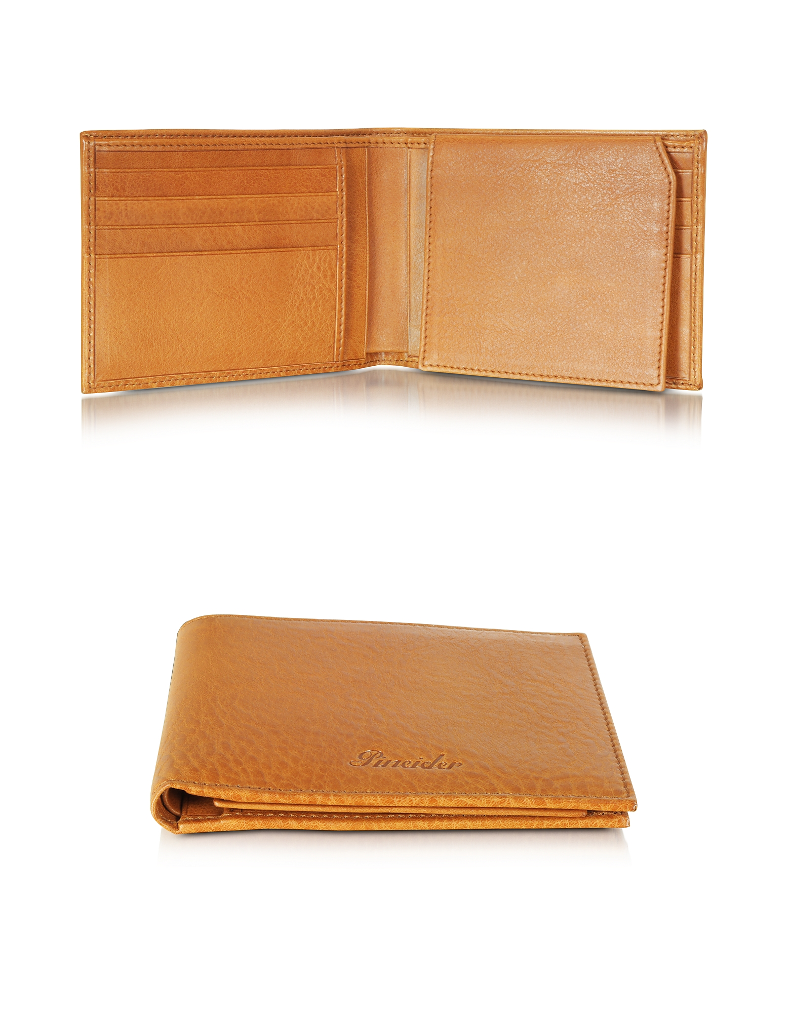 Pineider Wallets, Country Cognac Leather Billfold Wallet w/Flap