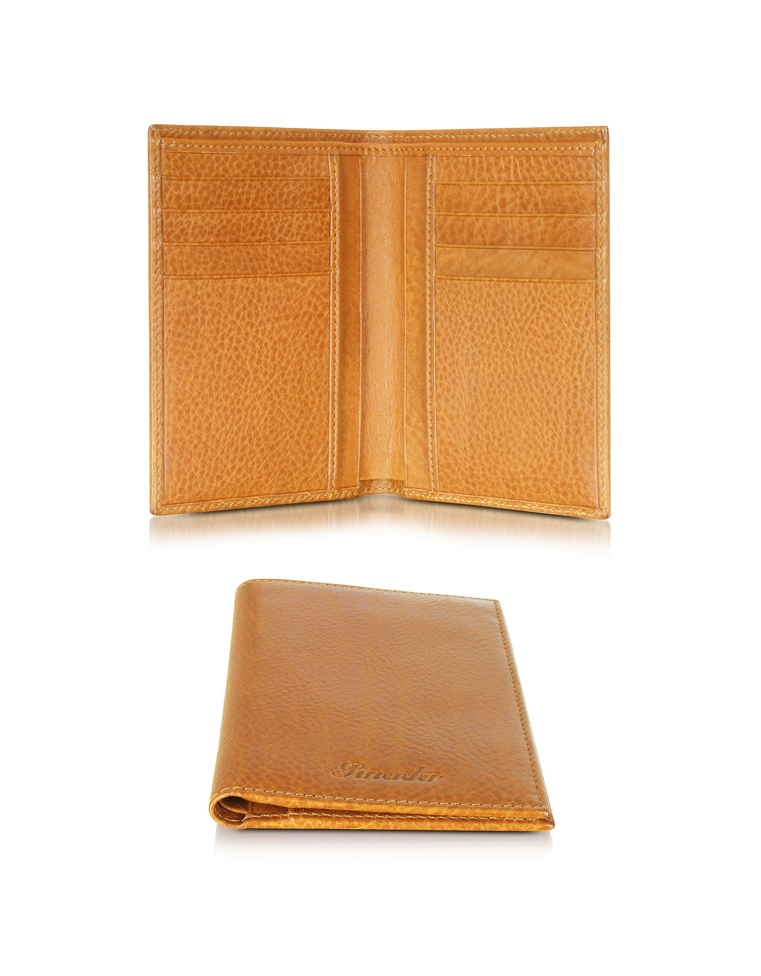 Pineider Wallets, Country Cognac Leather Vertical Wallet