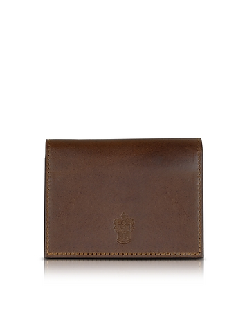 Power Elegance Double Dark Brown Leather Card Holder pn160017-001-00