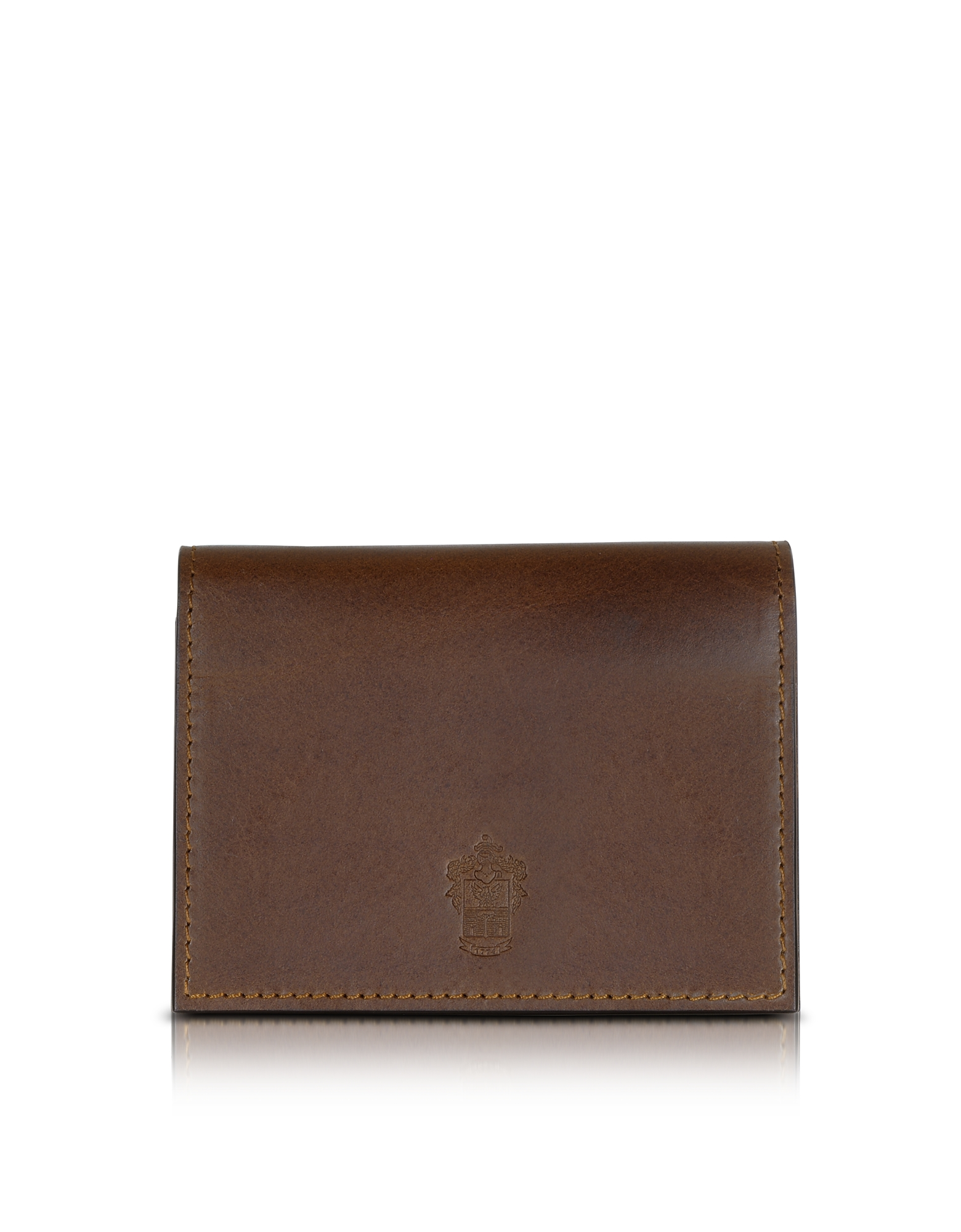Pineider Wallets, Power Elegance Double Dark Brown Leather Card Holder