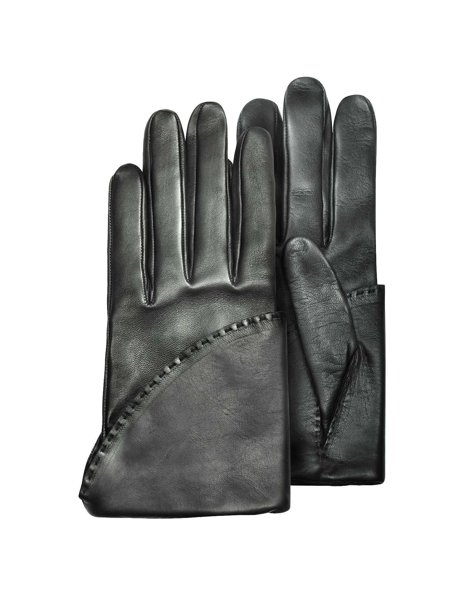 Pineider Designer Women's Gloves, Women's Black Short Nappa Gloves w/ Silk Lining