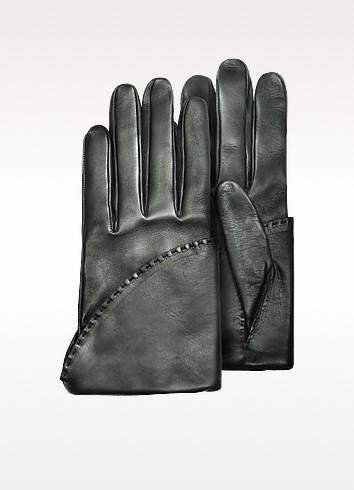 Women's Black Short Nappa Gloves w/ Silk Lining - Pineider