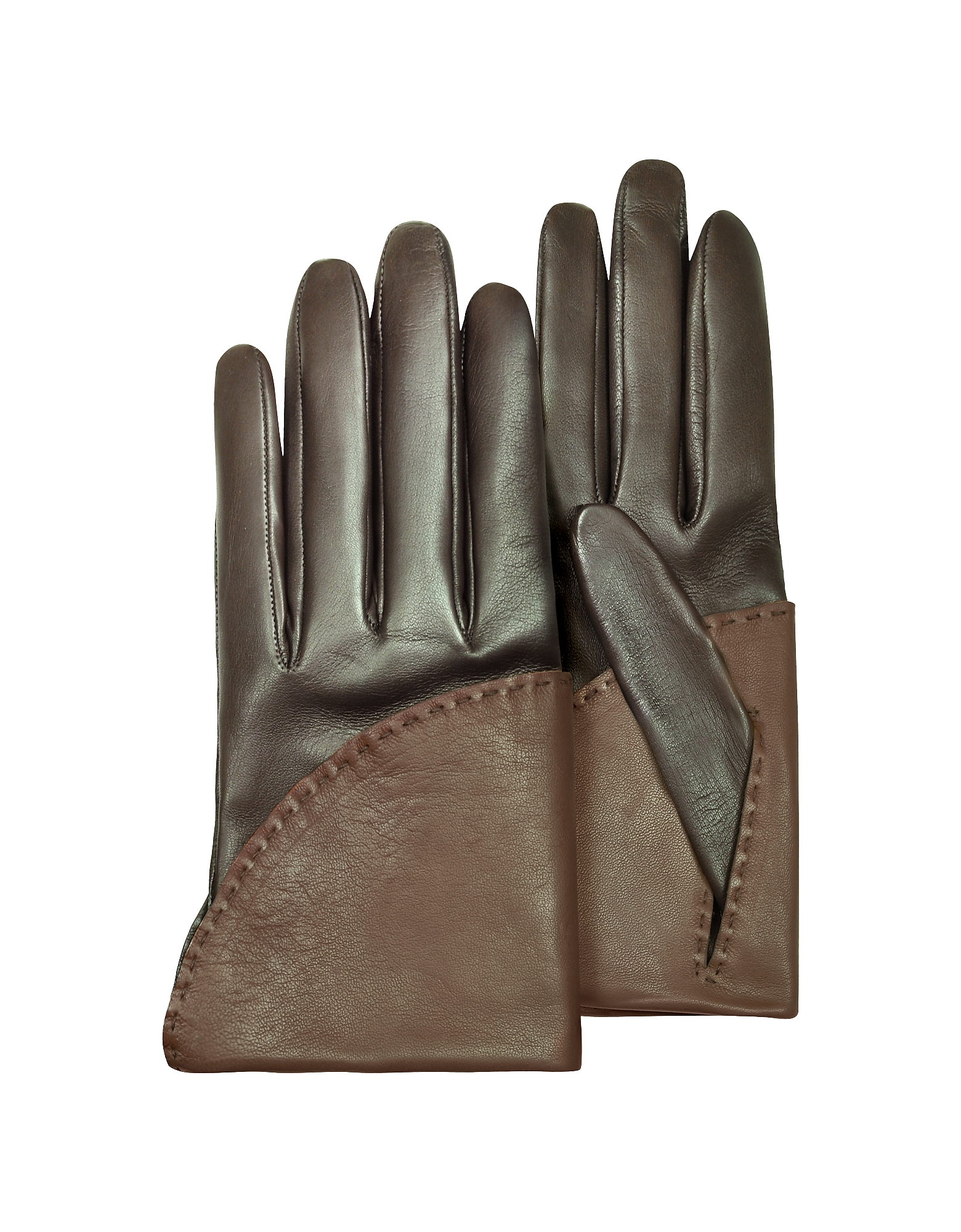 Pineider Women's Gloves, Women's Two-Tone Brown Short Nappa Gloves w/ Silk Lining