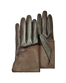 Women's Two-Tone Brown Short Nappa Gloves w/ Silk Lining  - Pineider