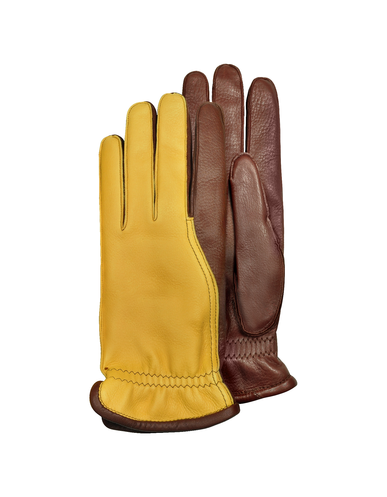 Men's Two-Tone Deerskin Leather Gloves w/ Cashmere Lining, Brown