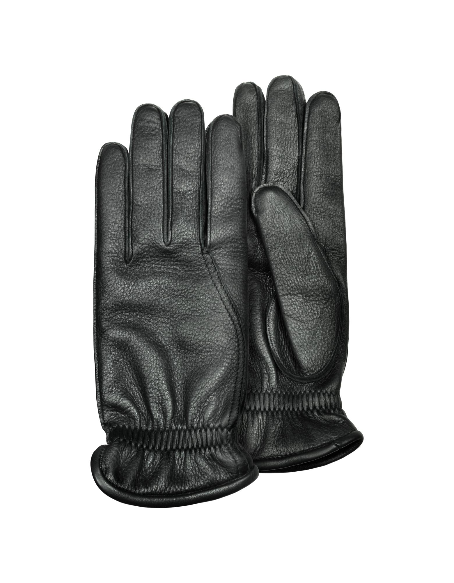 Image of Men's Black Deerskin Leather Gloves w/ Cashmere Lining