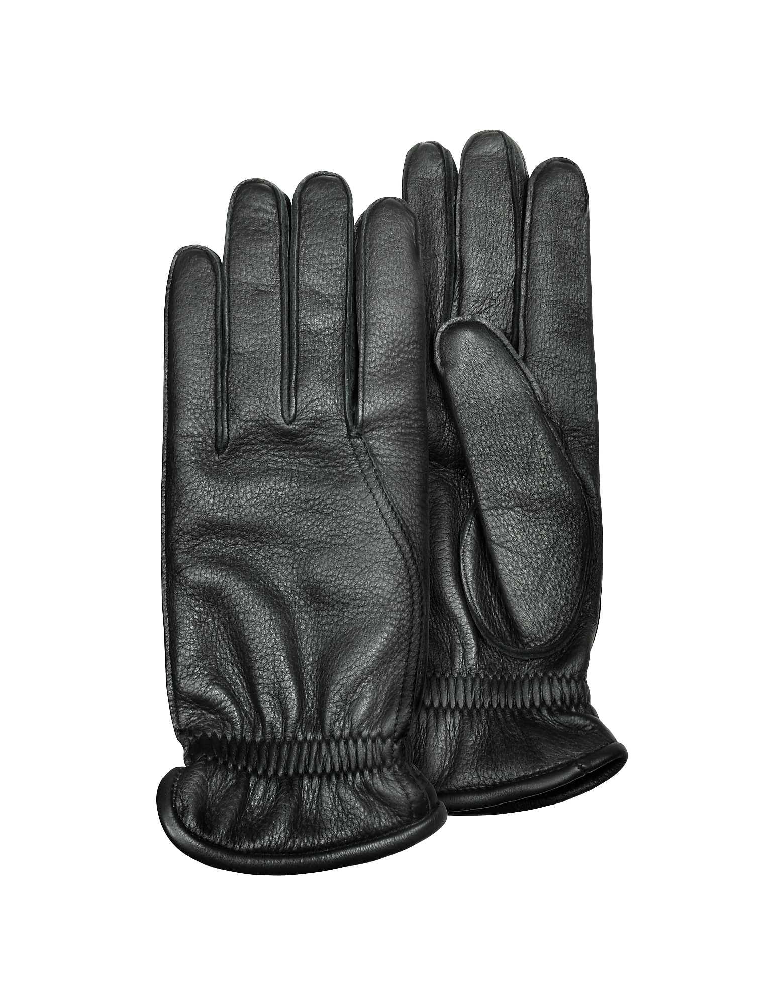 Pineider Men's Gloves, Men's Black Deerskin Leather Gloves w/ Cashmere Lining