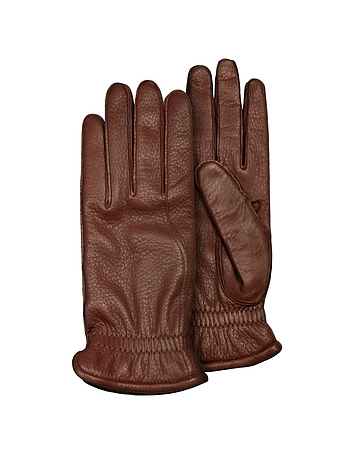 Pineider - Men's Brown Deerskin Leather Gloves w/ Cashmere Lining