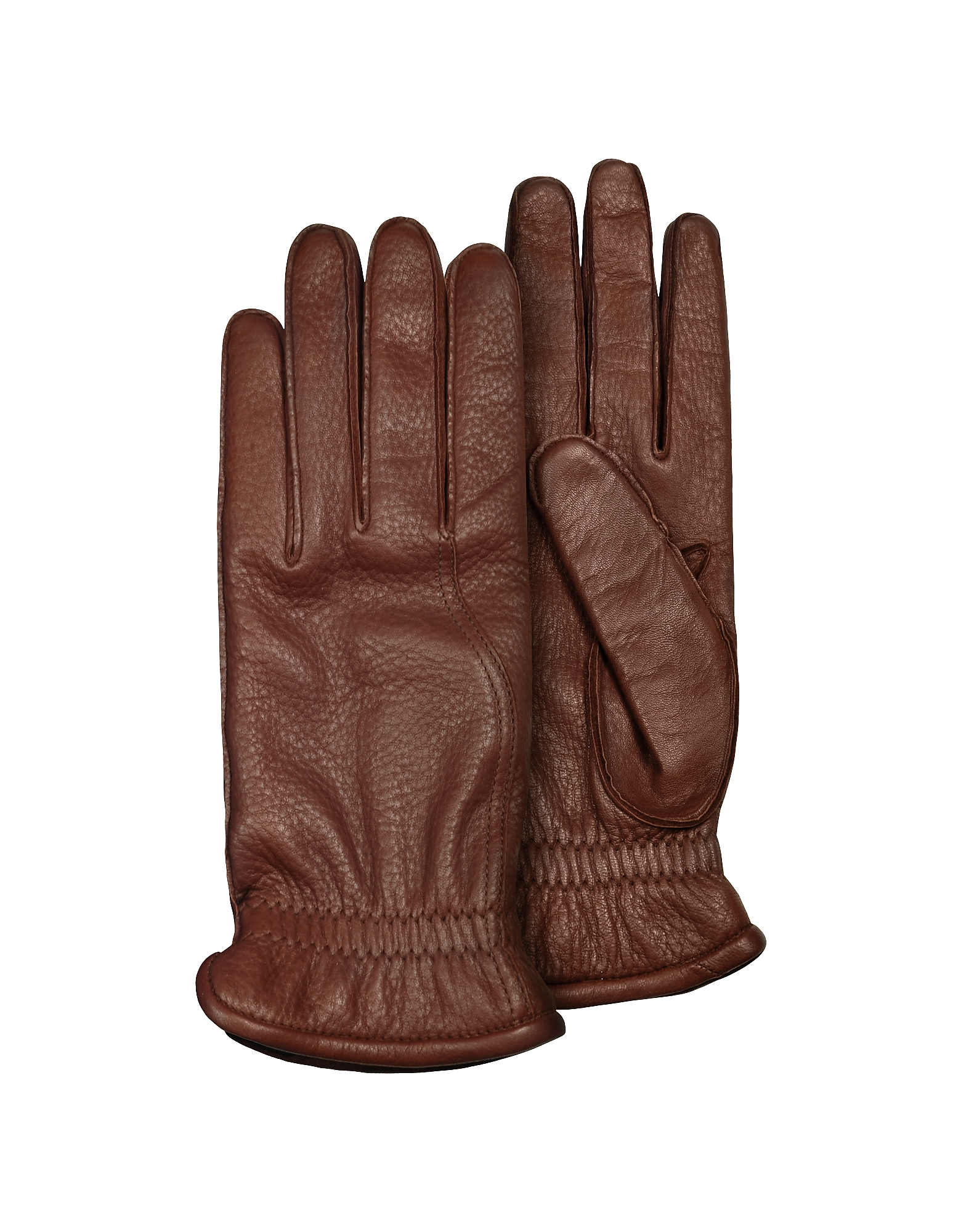 Pineider Men's Gloves, Men's Brown Deerskin Leather Gloves w/ Cashmere Lining
