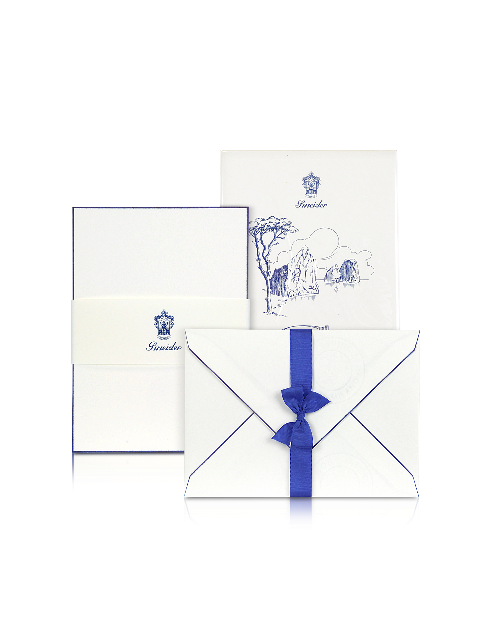 Image of Capri - 25 White Cards with Handpainted Blue Border