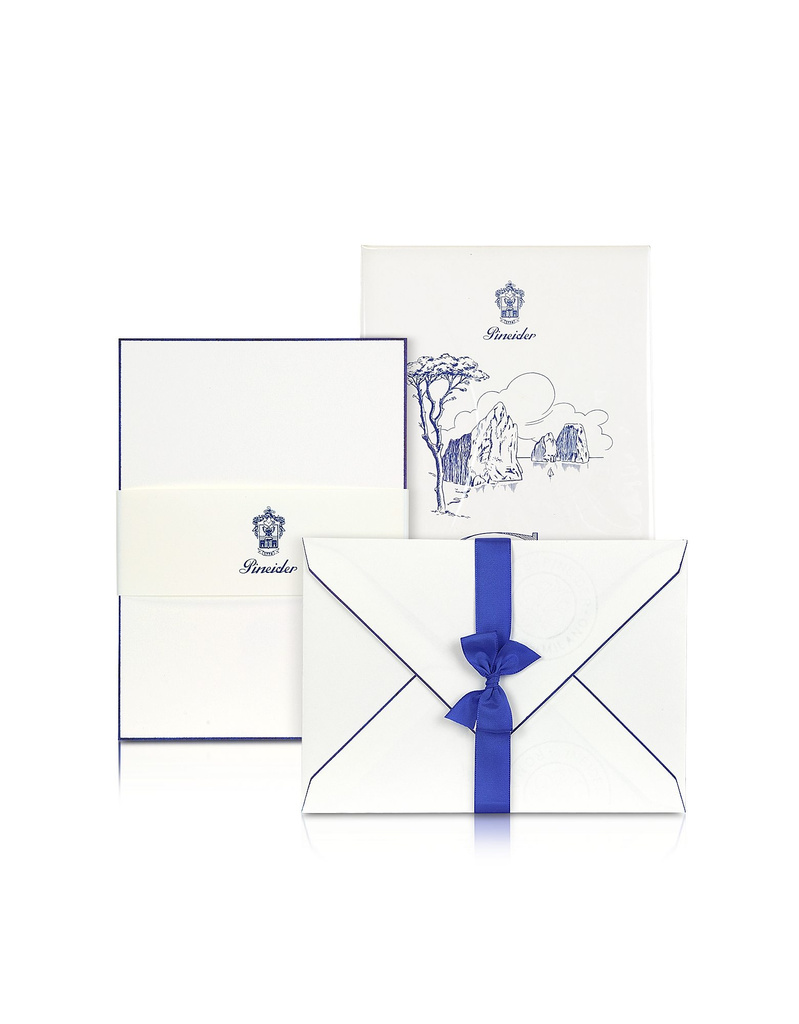 Pineider Desk Accessories, Capri - 25 White Cards with Handpainted Blue Border