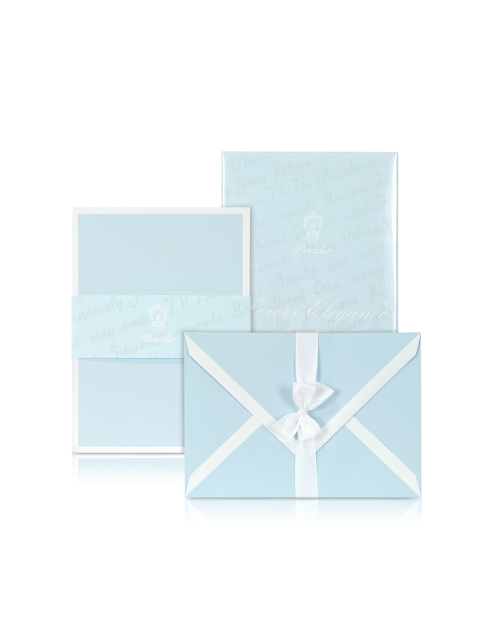 Pineider Desk Accessories, Power Elegance - 25 Sky Blue Cards with White Border