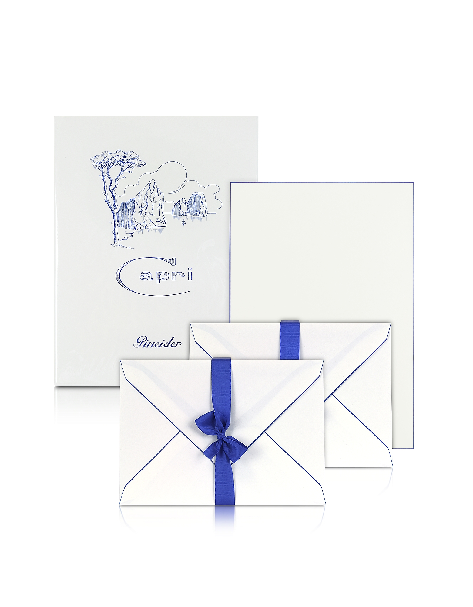 Pineider Designer Desk Accessories, Capri - 50 Sheets White Letter Paper with Handpainted Border pn341411-003-00