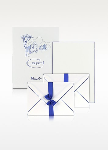 Capri - 50 Sheets White Letter Paper with Handpainted Border - Pineider