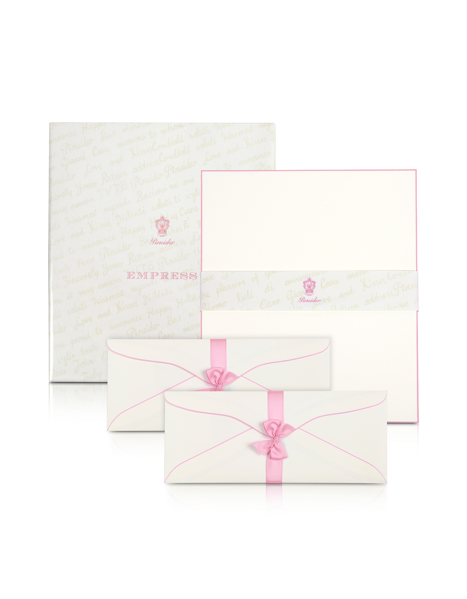 Pineider Desk Accessories, Empress - 50 Sheets White Letter with Handpainted Border