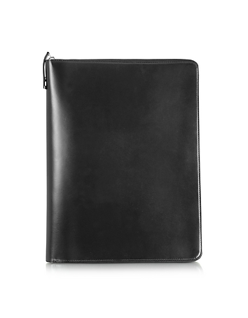Pineider - 1949 A4 Black Leather Notepad Holder w/Zip
