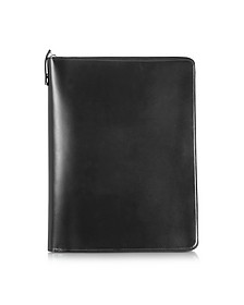 1949 A4 Black Leather Notepad Holder w/Zip - Pineider