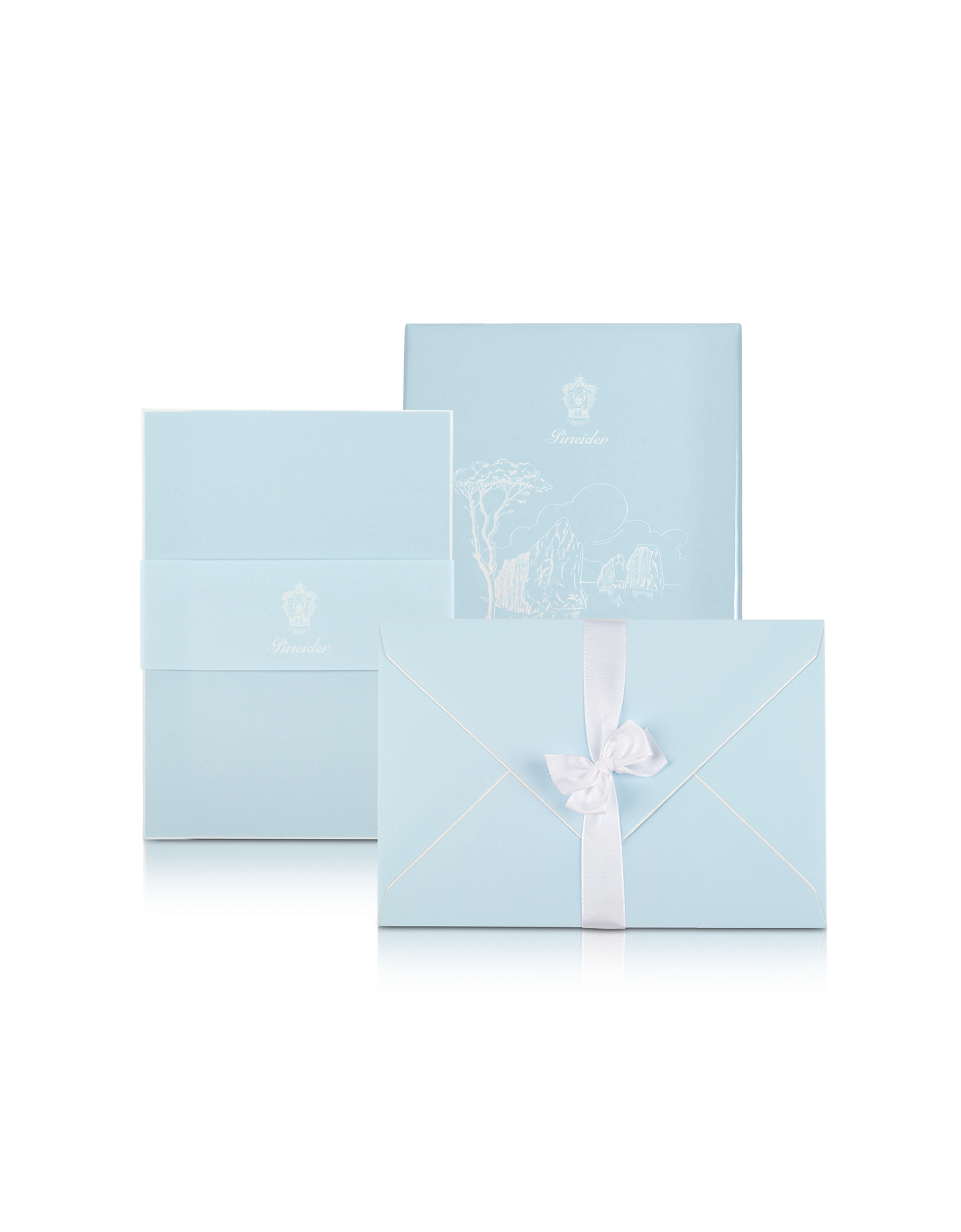 Capri - 25 Sky Blue Note Cards with Handpainted White Border
