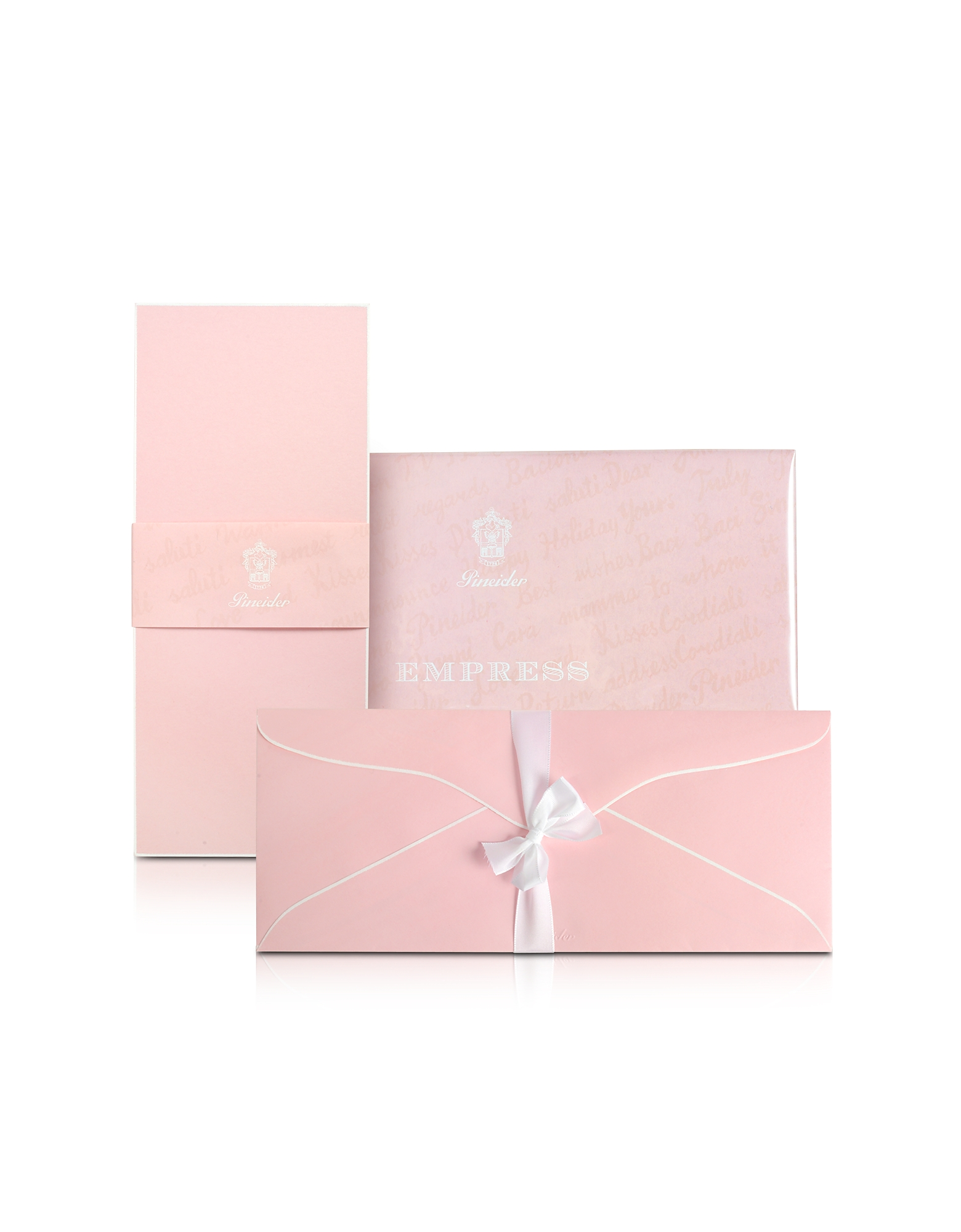 Empress - 25 Long Pink Note Cards with Handpainted White Border