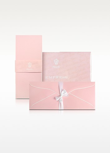 Empress - 25 Long Pink Note Cards with Handpainted White Border - Pineider