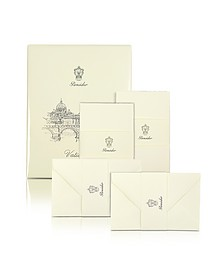Vaticano - 25 Ivory Deckle-Edged Note Cards - Pineider