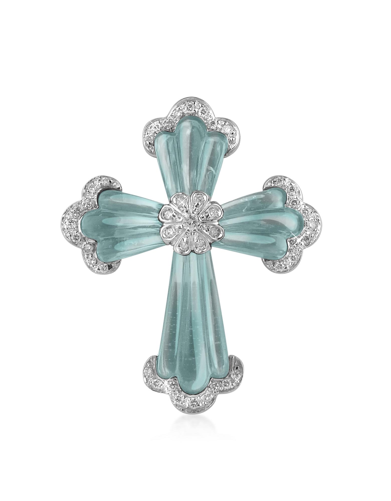 Pendentif croix en or 750/1000, gemme et diamant