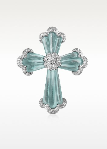 Carved Gemstone 18K Gold and Diamond Cross Pendant  - Roma Imperiale