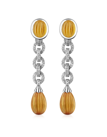 Roma Imperiale - Carved Gemstone 18K Gold and Diamond Drop Earrings