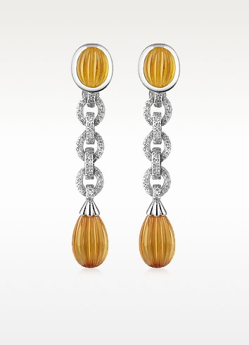Carved Gemstone 18K Gold and Diamond Drop Earrings  - Roma Imperiale