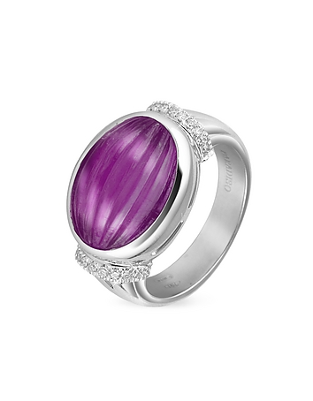 Roma Imperiale - Carved Amethyst and Diamond 18K Gold Ring