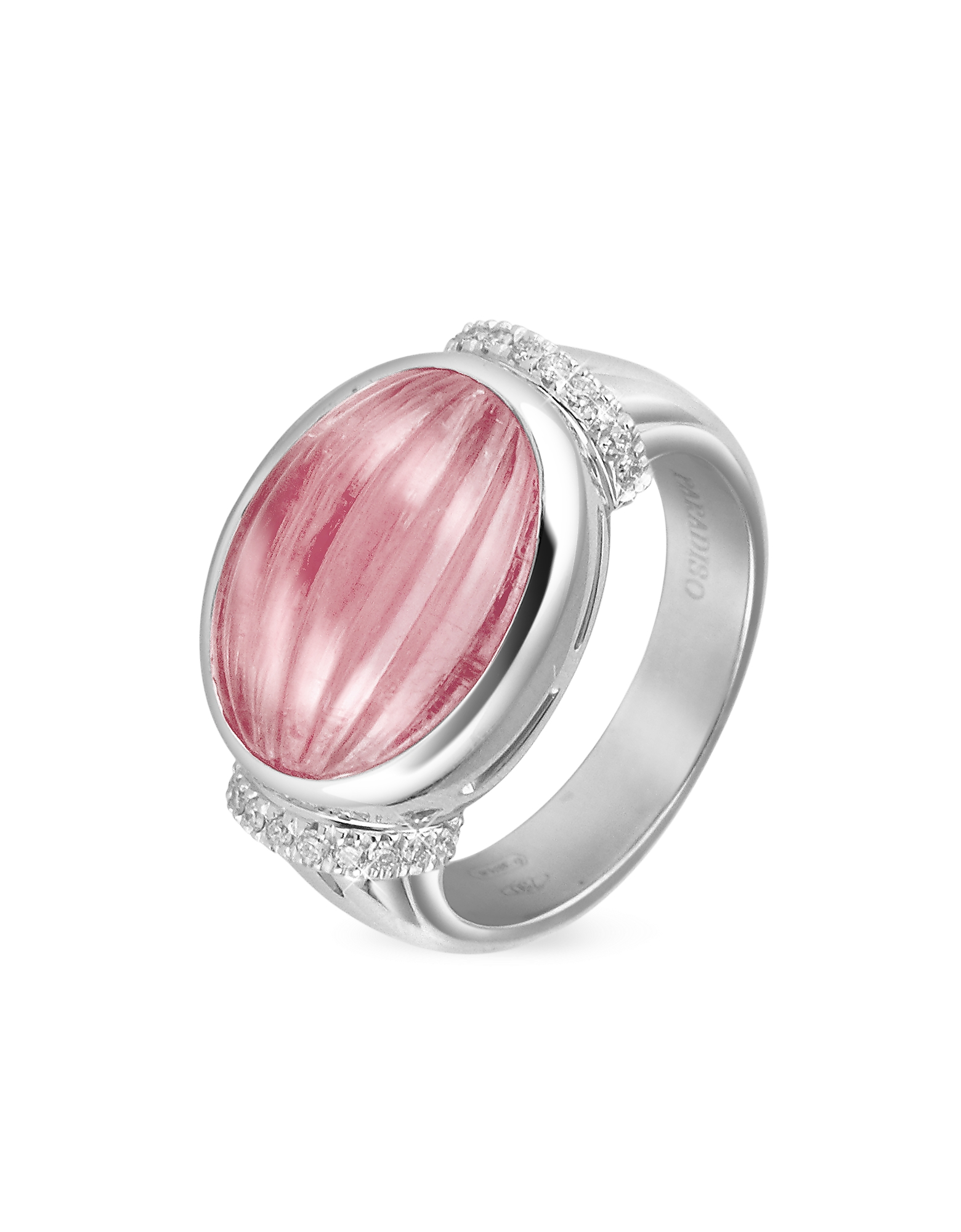 Roma Imperiale Rings, Carved Pink Rubellith and Diamond 18K Gold Ring