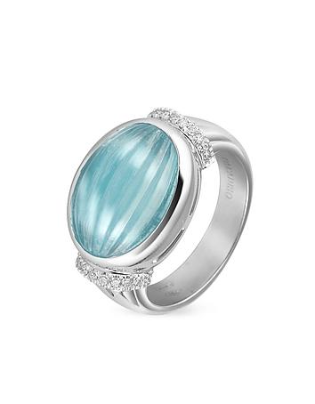 Carved Aquamarine and Diamond 18K Gold Ring