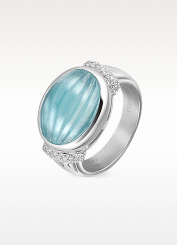 Carved Aquamarine and Diamond 18K Gold Ring - Roma Imperiale