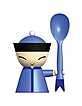 Mr. Chin - Hand-decorated Egg Cup w/Salt Castor & Spoon - Alessi