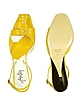 Lemon Front Tie Calf Leather Slingback Shoes - Amaltea
