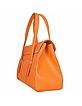 Orange Embossed Leather Satchel Bag - Buti