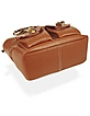 Front Pockets Brown Leather Satchel Bag w/ Bamboo Handles - Buti