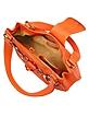 Orange Horsebit Detail Italian Calf Leather Shoulder Bag - Buti
