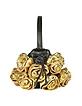 Black & Gold Handmade Rose Bouquet Italian Leather Handbag - Fontanelli