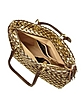 Brown & Gold Woven Italian Leather Large Tote Bag - Fontanelli