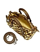 Brown & Gold Italian Woven Leather Mini Handbag - Fontanelli
