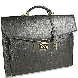 Image of Black Ostrich Stamped Calf Leather Briefcase